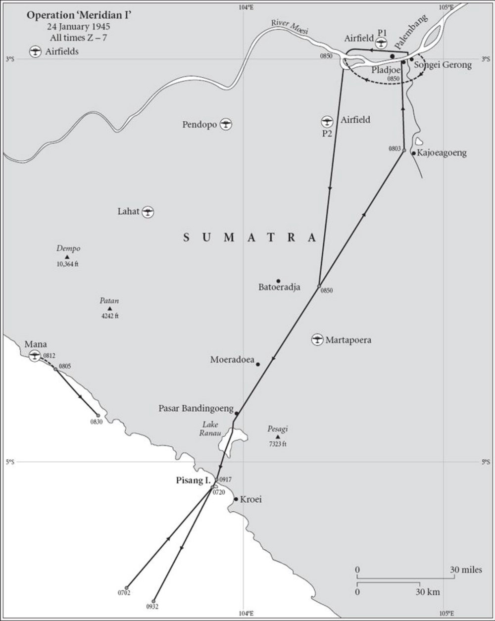 This map shows the flight paths of the strike forces of Meridian I & II for the attacks on the Pladjoe and Songei Gerong (dotted lines) refineries immediately south of Palembang city. Of particular note are the location of the Japanese airfields, and the relative position of the targets on the opposite bank of the tributary to the River Mosei.
