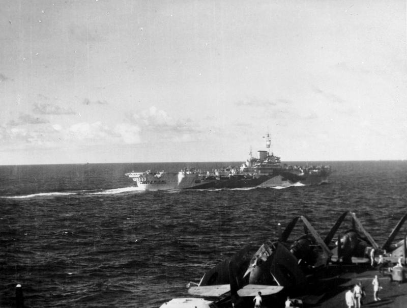 The fleet carrier HMS INDEFATIGABLE, steaming alongside the ILLUSTRIOUS in February 1945.