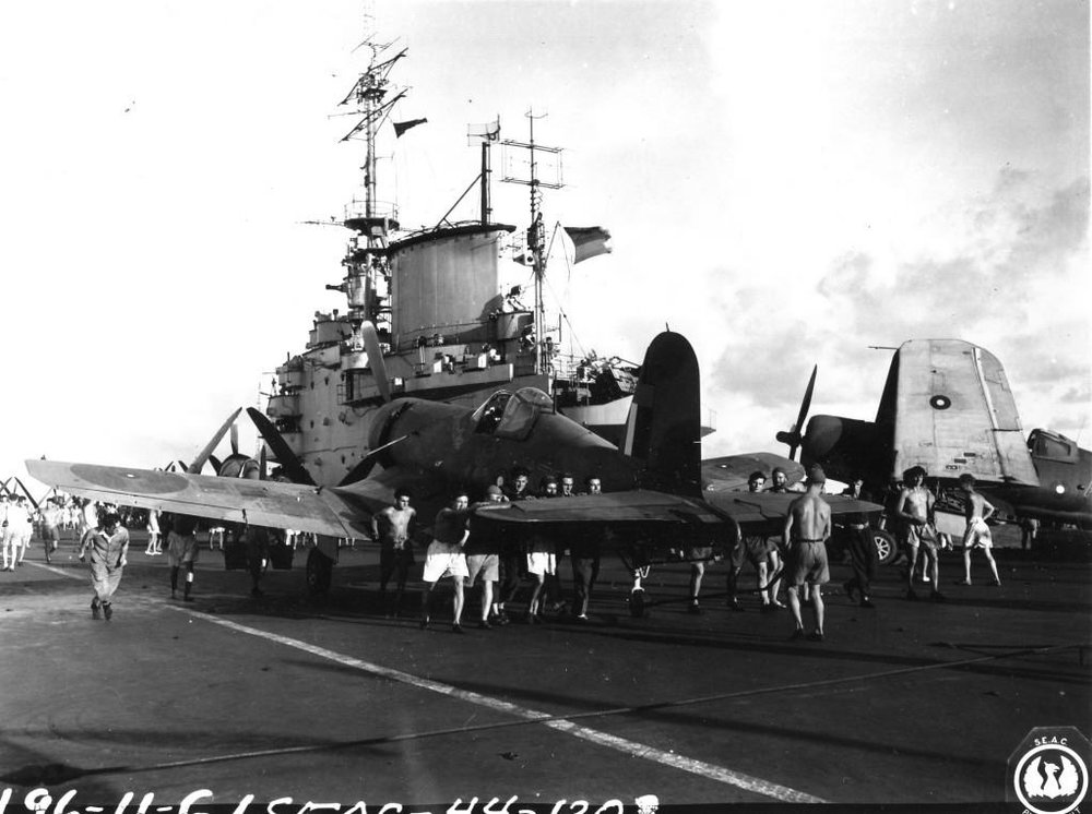 Corsairs being ranged on HMS VICTORIOUS' deck.
