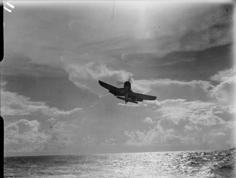 A Corsair on final approach to HMS Illustrious.