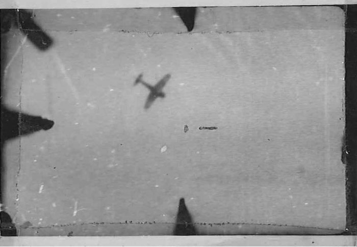 A gun-camera image of what is most likely a Ki43 Oscar. This image is pasted on Don Sheppard's logbook page for January 1945 when he shot down four Japanese aircraft.  Phicture: Sheppard papers / via Navy Blue Fighter Pilot