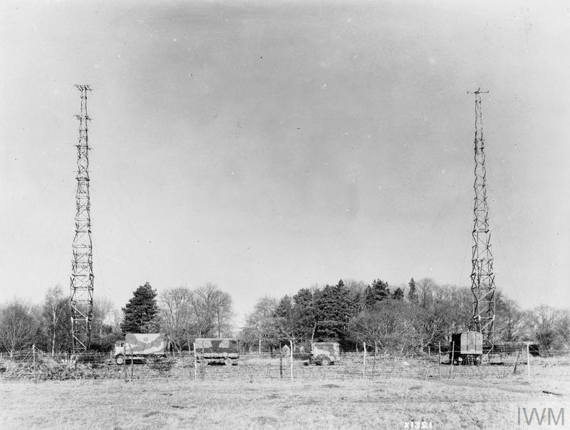 Mobile Radar Unit: AMES Type 9 mobile unit deployed in the field. The aerials were supported on the two 105-ft collapsible towers.