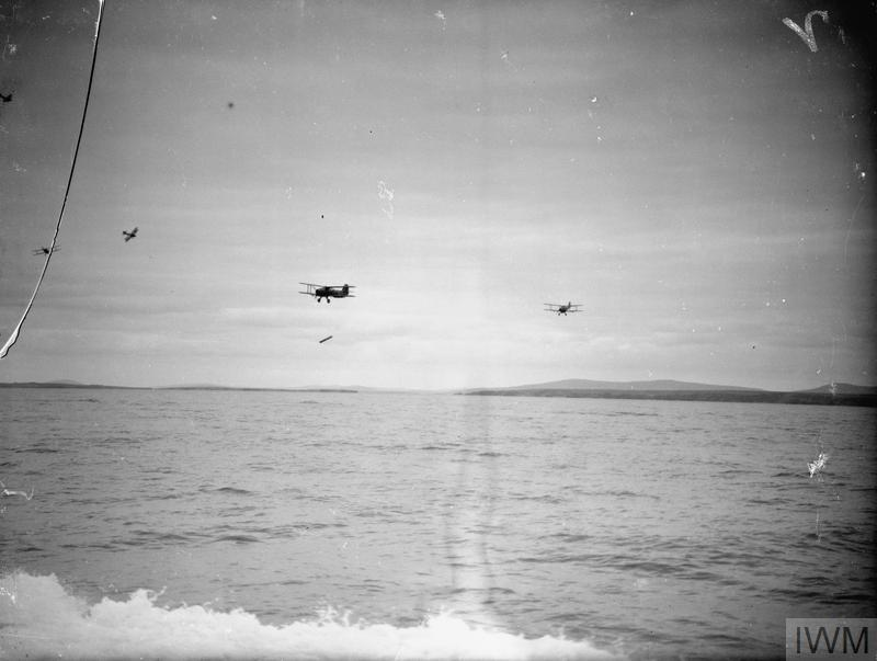 Fairey Albacores sweeping to practice torpedo attack, May 1942.