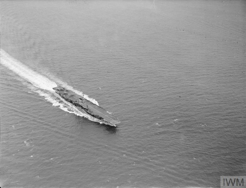 Albacores take off from HMS FORMIDABLE during torpedo exercises off Mombasa.