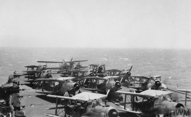 Fairey Albacore Mark Is of Nos. 826 and 829 Squadrons ranged on board HMS FORMIDABLE before taking off to attack the Italian Fleet during the Battle of Matapan, 28 March 1941.