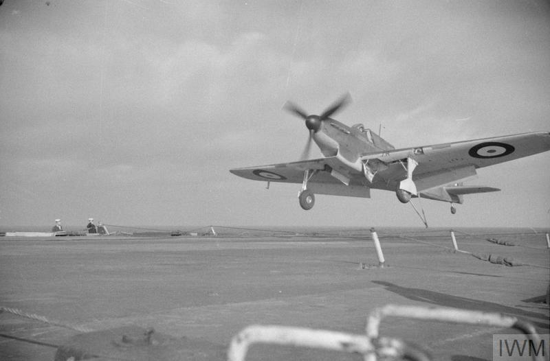 Fairey Fulmar coming in to land aboard HMS ARK ROYAL in 1941.
