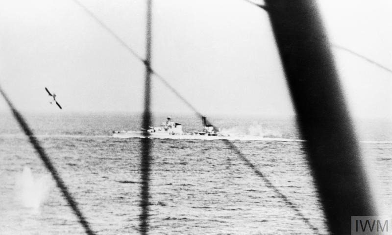 Lt (A) Clifford's torpedo being released, as seen by Mid (A) Wallington, Observer in second Albacore, during the Battle of Matapan.