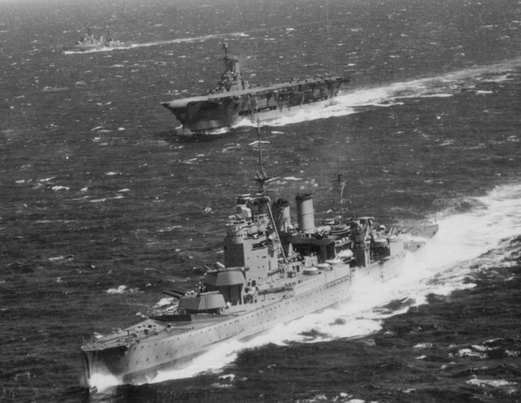 HMS ARK ROYAL with her long-time companions RENOWN, front, and SHEFFIELD.