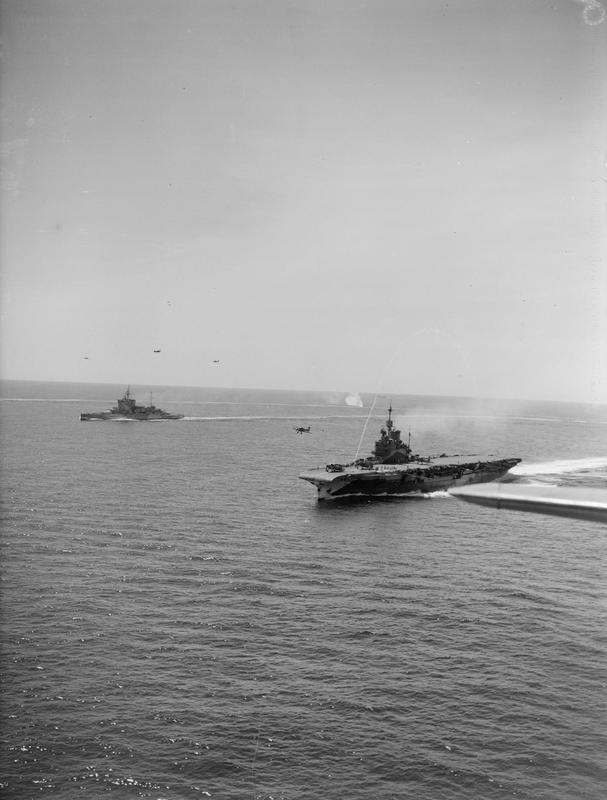 HMS FORMIDABLE operating Albacores in company with WARSPITE.
