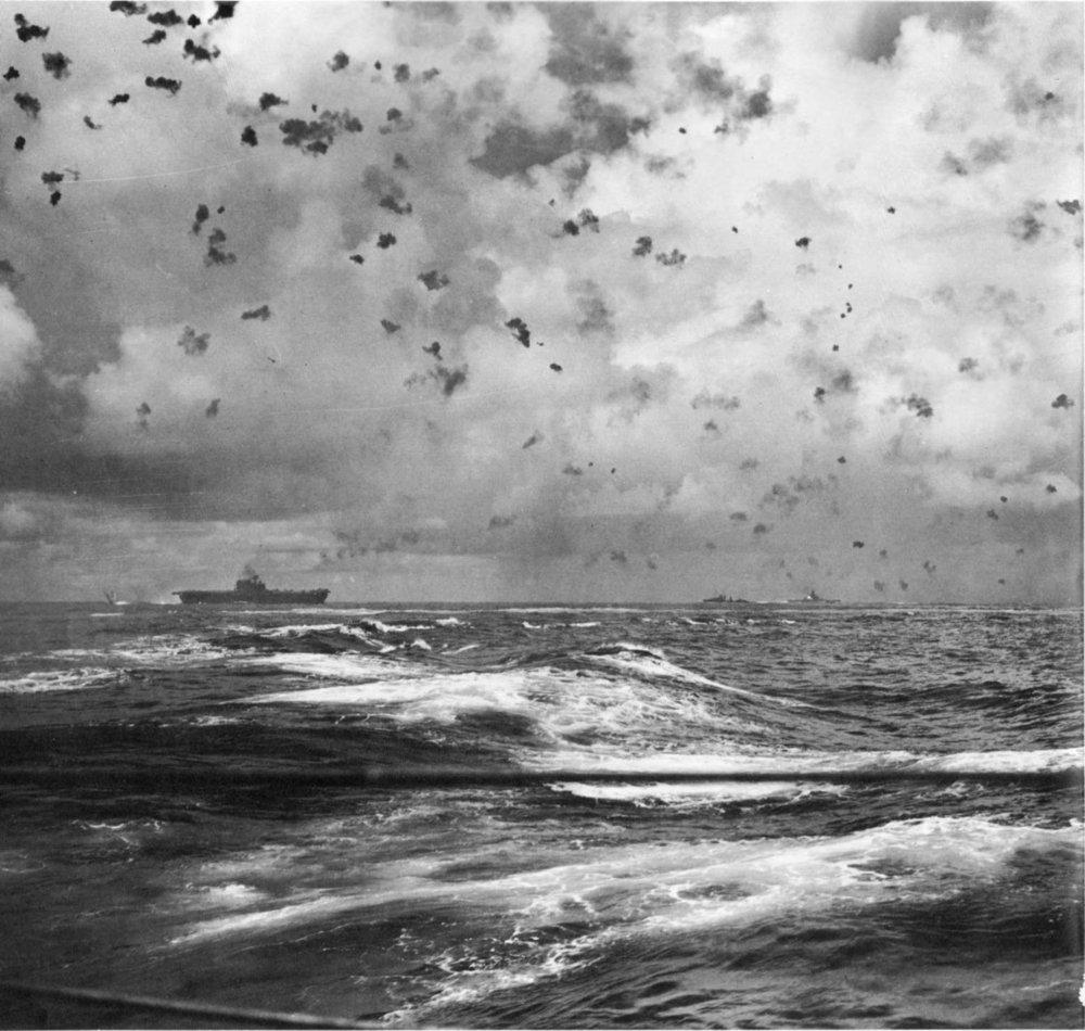 Escorts defend USS ENTERPRISE during the battle of Santa Cruz.