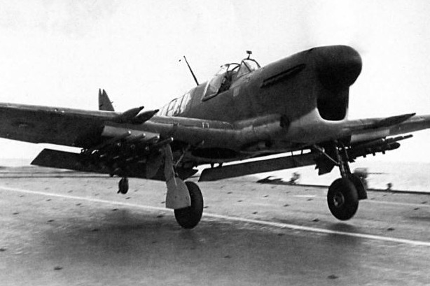 A Firefly FR1 with its flaps in take-off position.