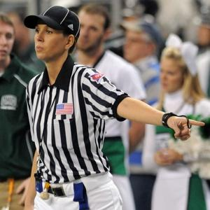 Photo from NYPost.com  BELLE & WHISTLE: Sarah Thomas, here working a 2009 bowl game in Detroit