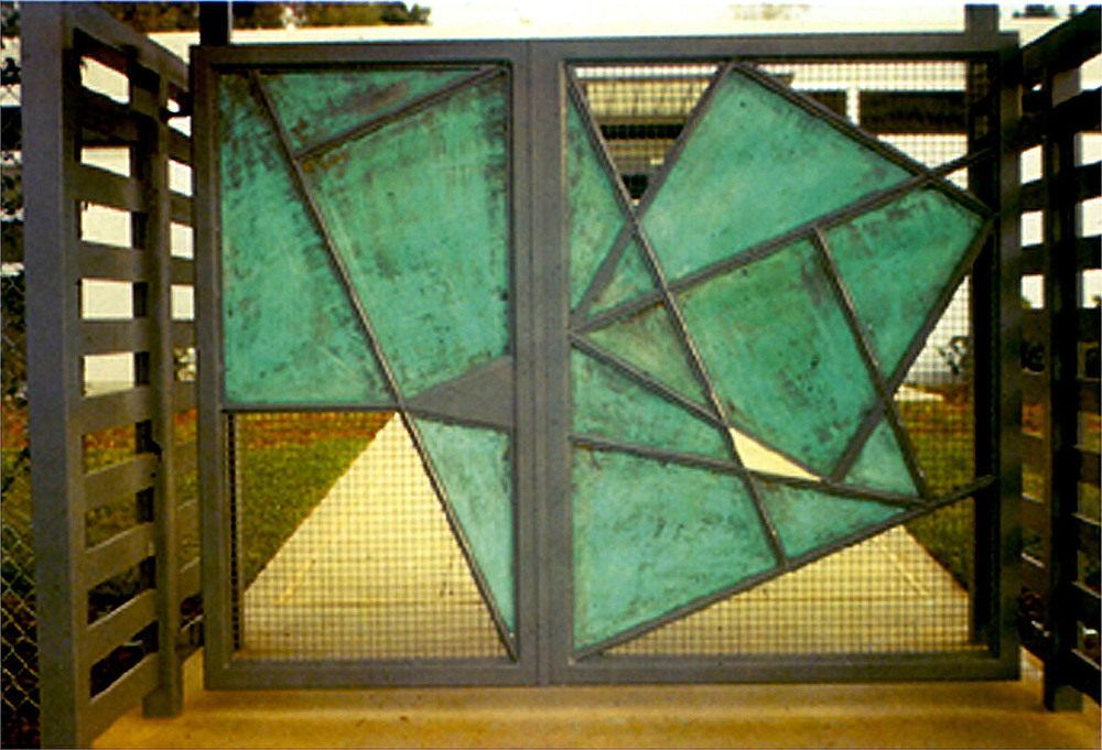 "Sculptural Gates  1989 Steel/Copper 90"" x 120"" x 4"" UCLA Child Care Center"