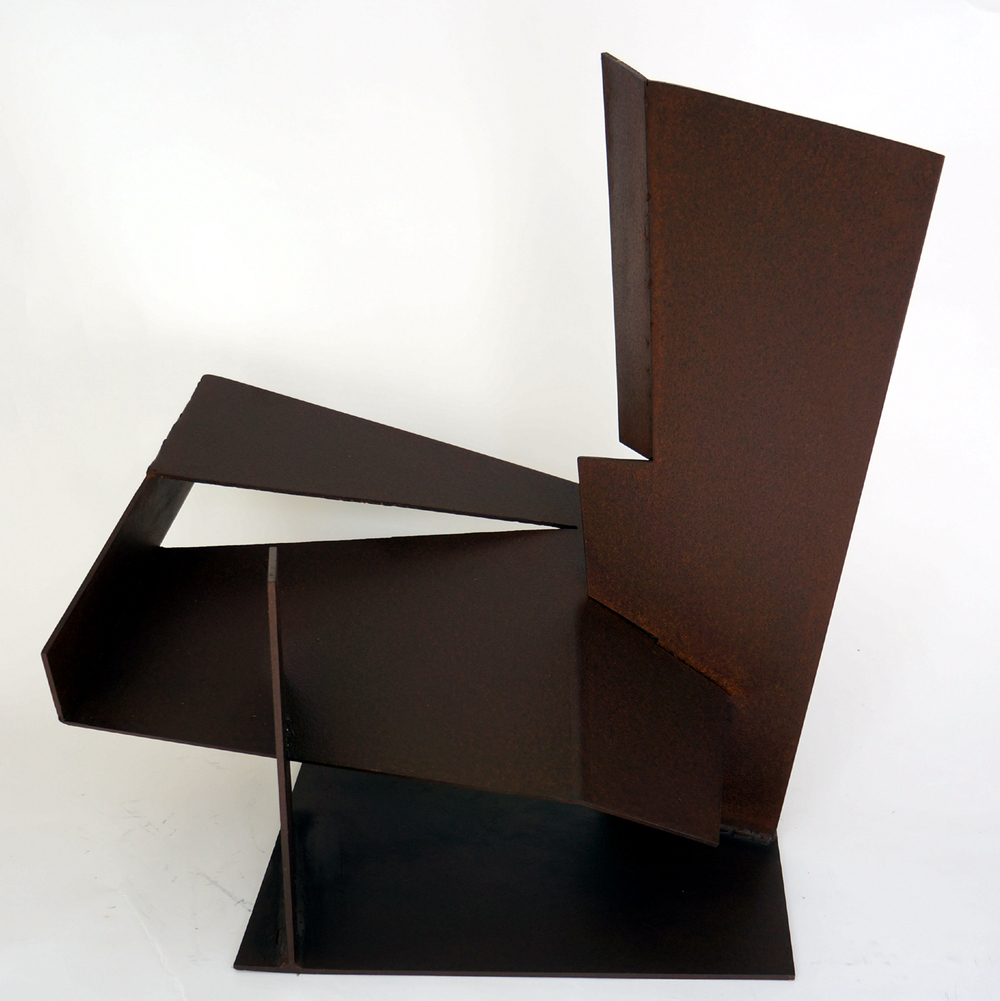 "Folded Form #12, Cubist Table  1988 Steel 23"" x 21"" x 20"""