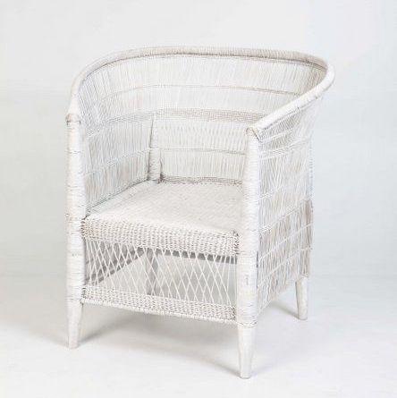 Malawi Arm Chair - White   750mm (L) x 600mm (D) x 850mm (H) $120
