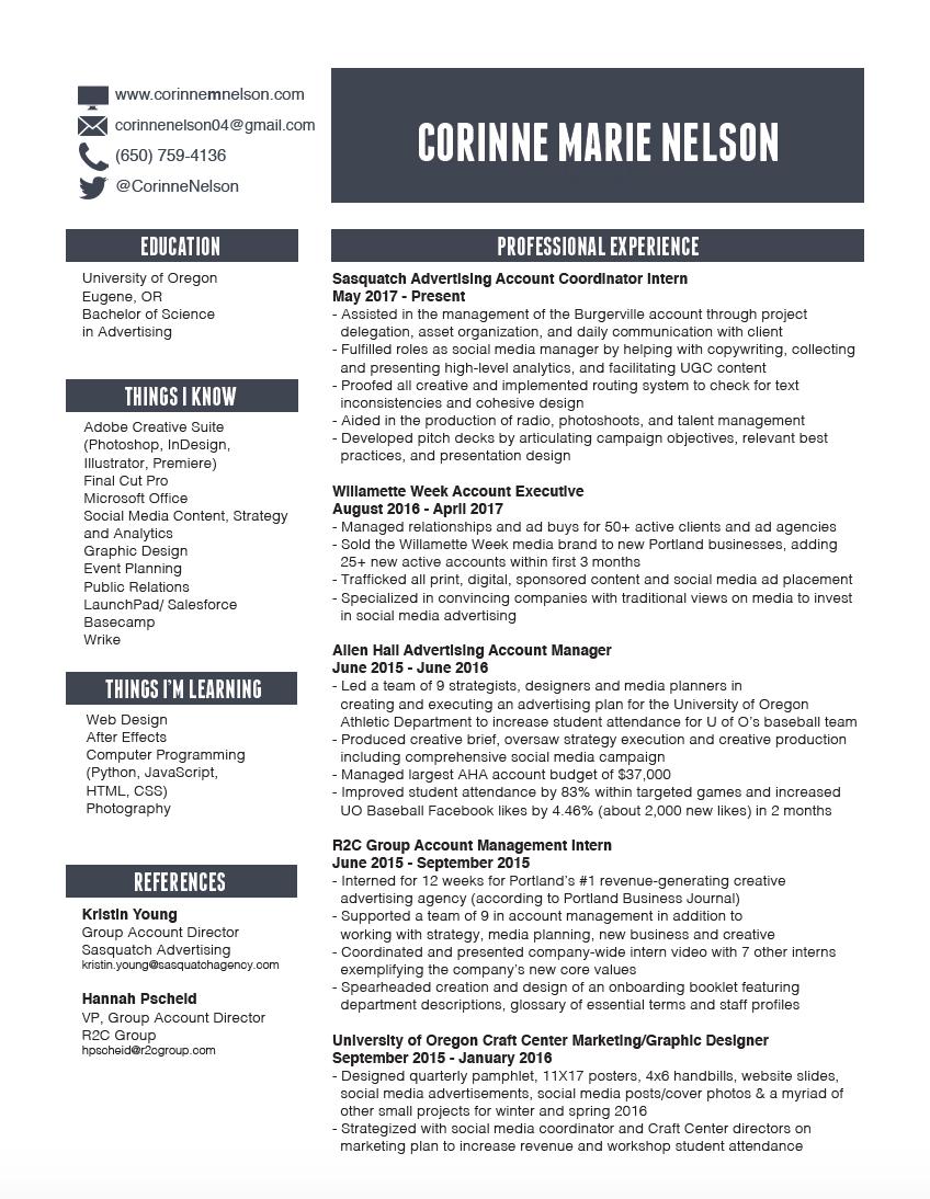 Résumé — Corinne Nelson