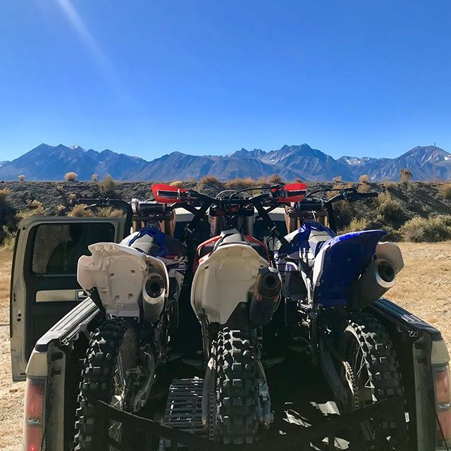 Eastern Sierra's provides again - longest desert ride of my life today with @austindyne and @ninjafluffy #mammoth #motocross