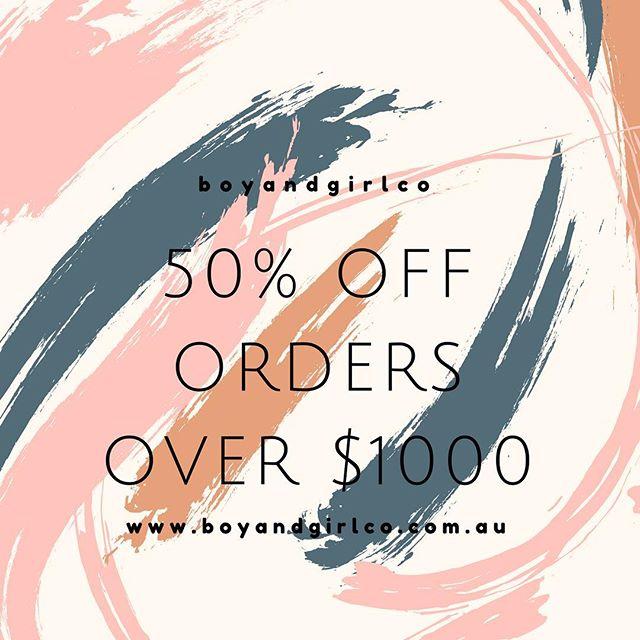 👏🏻👏🏻 5 0 %  O F F  O R D E R S 👏🏻👏🏻 . use offer code: HOME50 upon checkout! Starts at 12pm today 👏🏻👏🏻 . www.boyandgirlco.com.au