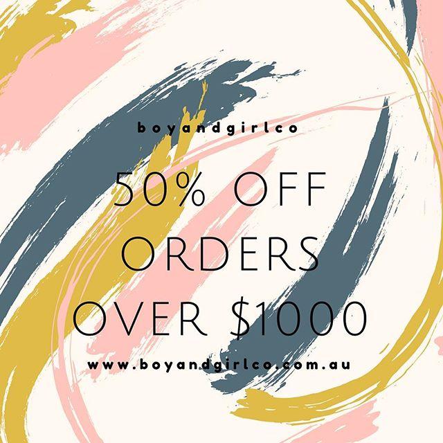 😍😎👏🏻 S A L E 👏🏻😎😍 . 50% off!!! . Head to www,boyandgirlco.com.au