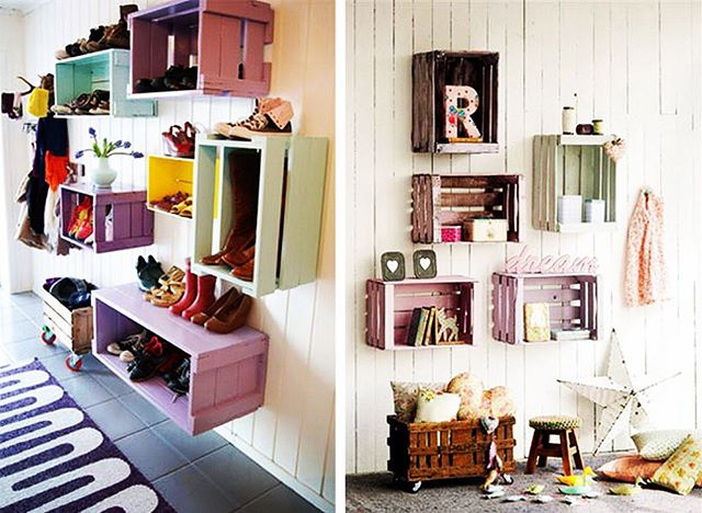 👏🏻 K I D S  C O R N E R 👏🏻 . Awesome and fun ways to add storage and colour to your kids rooms! Let's hope it will encourage them to pack their stuff away ☺️