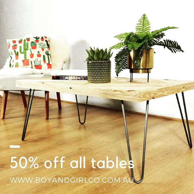 🙌🏻 SUSTAINABLE TABLE SALE 🙌🏻 . Get in and grab your 100% recycled pallet table at 50%! Head to http://www.boyandgirlco.com.au while the offer lasts! . Ka-boom!