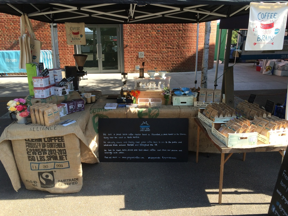 Our market stall and mobile brew bar at the Forum, Norwich