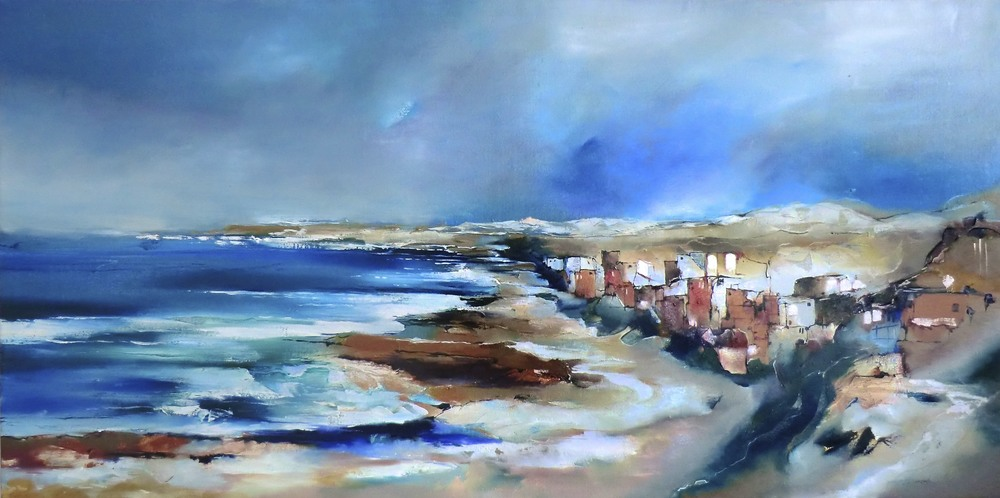 VILLAGE BY THE SEA OIL ON CANVAS FR 75 x 145 cm $1 800