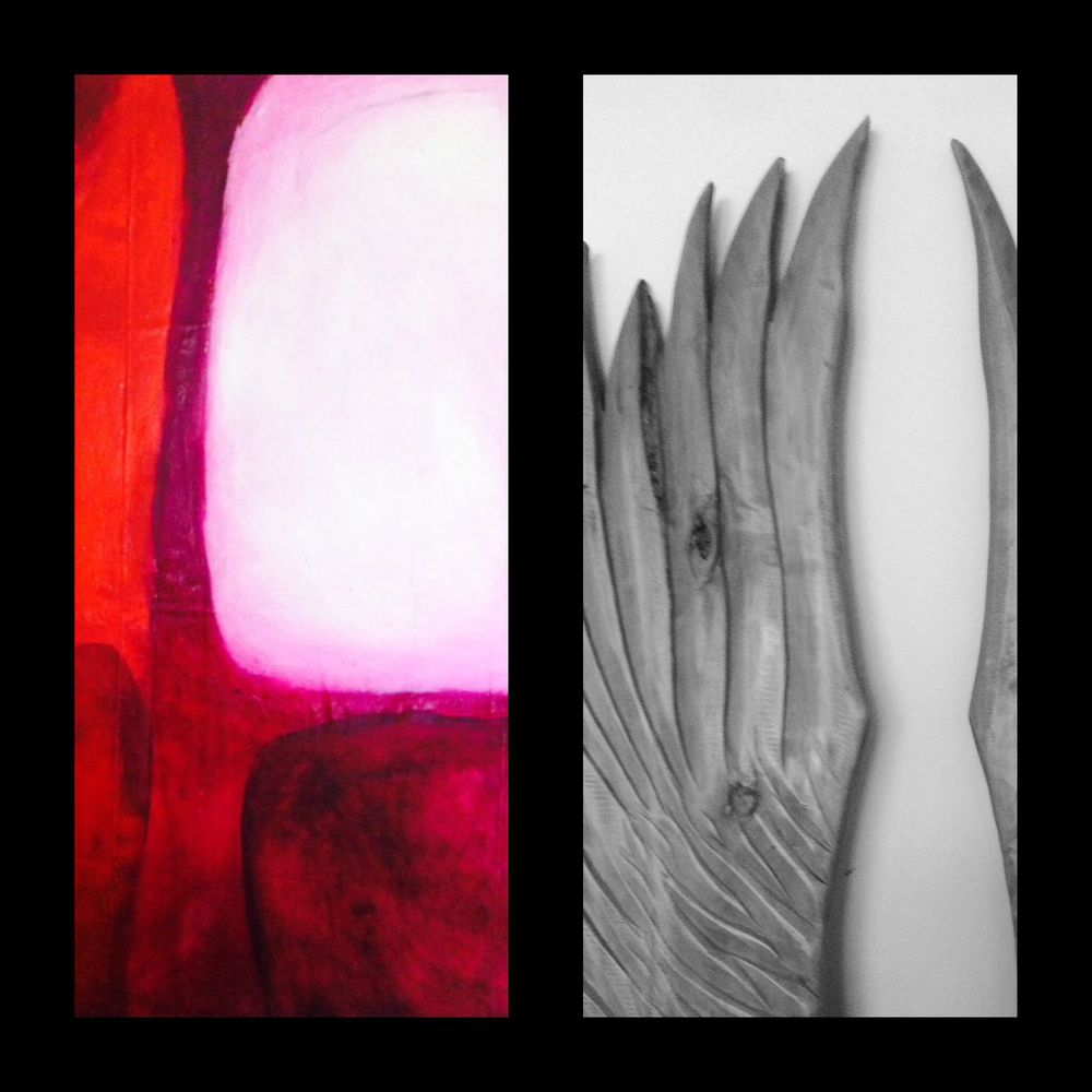 wings hard carved by Anthony Debbo and big red form on dark background by Kate Debbo