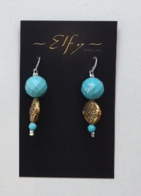LIGHT BLUE BEAD, BRASS ANS SILVER EARRINGS
