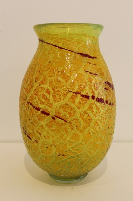 YELLOW CRACKLE VASE