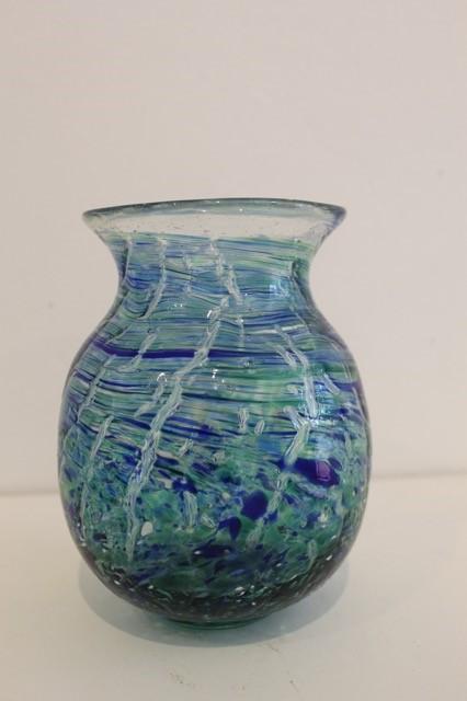 Title: Blue Crackle Necked Vase