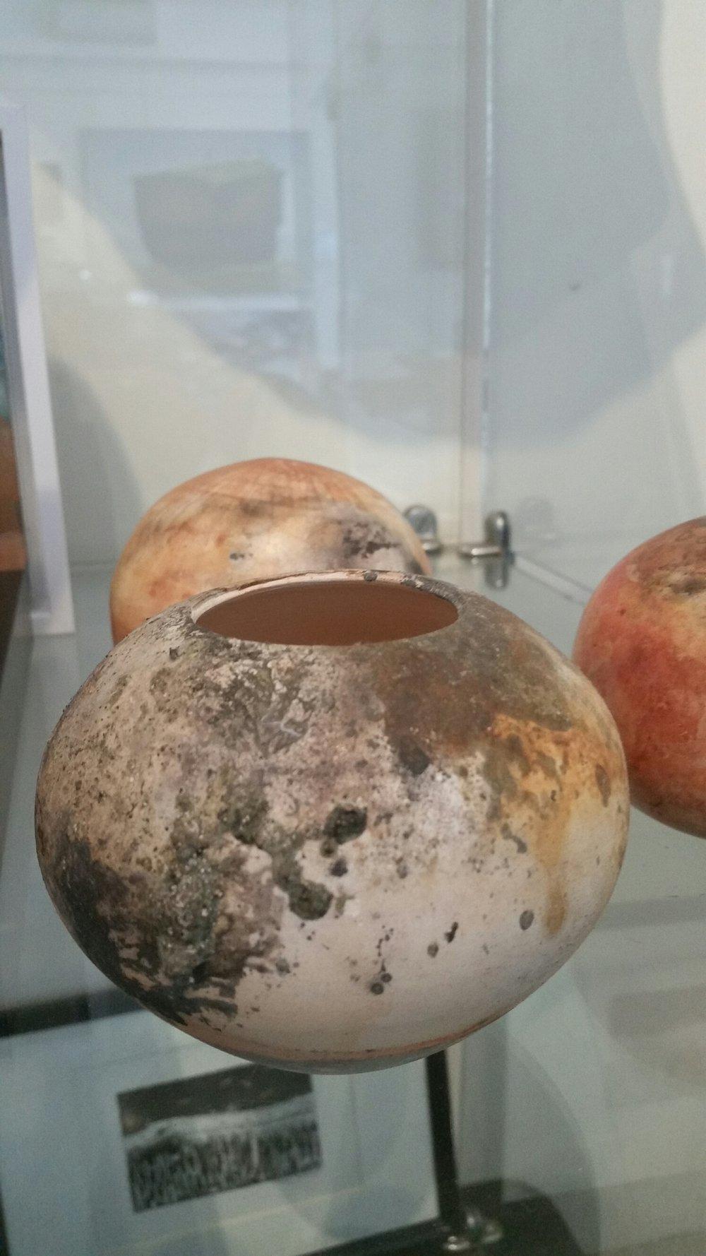Title: Pit Fired Form - Spherical Vase