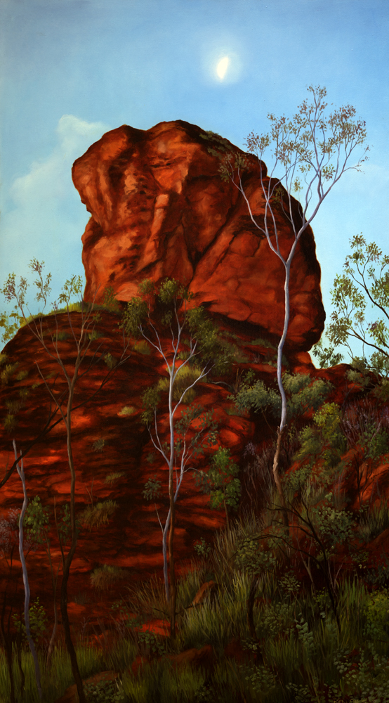 MOONRISE OVER ANCIENT ROCK, MIRIMA, KUNUNURRA