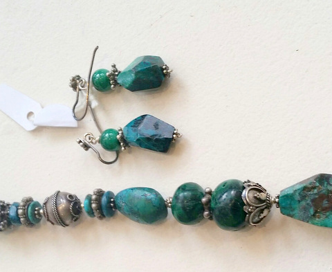 Title: Chrysocollo, Malachite & Turquoise Earrings #307