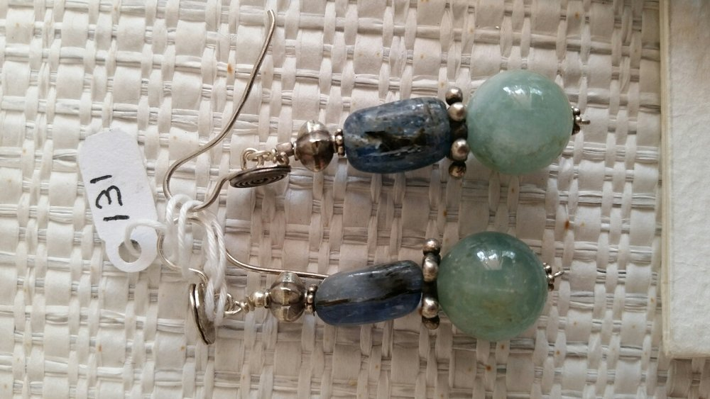 Title: Aqua Marine Kayanite Earrings #131