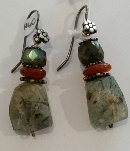 Title: Chrysophase Mali Amber Abradorite Earrings #141