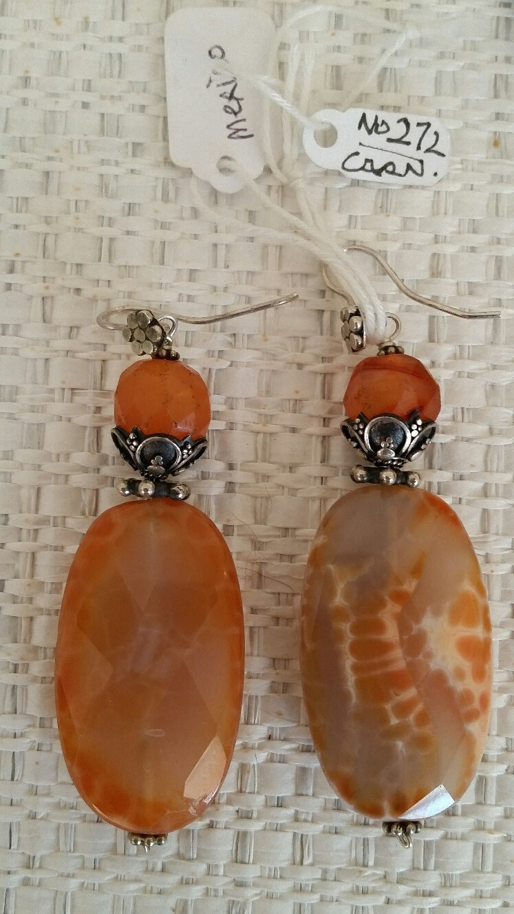 Title: Fine Agatte Cut Carnellian Egypt Earrings #272