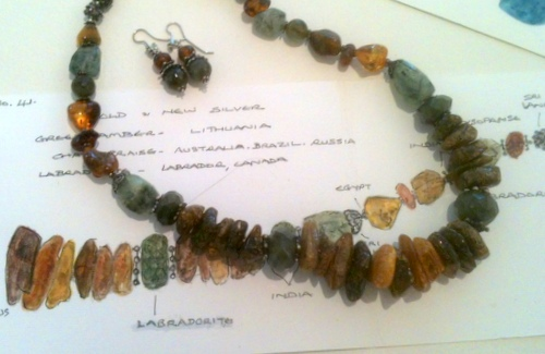 Title: Green Amber & Labradorite Necklace #41