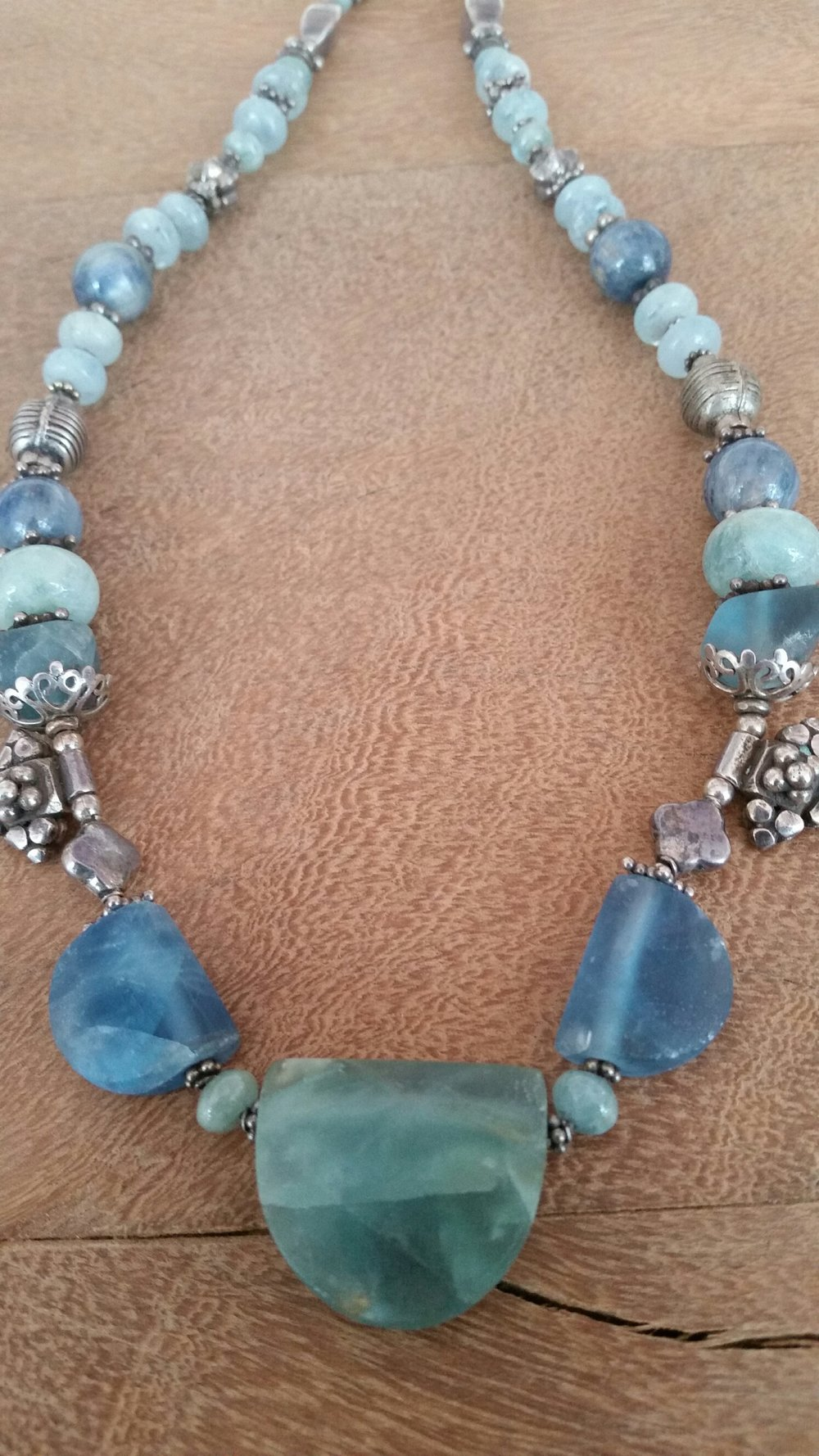 FLUORITE, AQUAMARINNE AND KYANITE NECKLACE #266