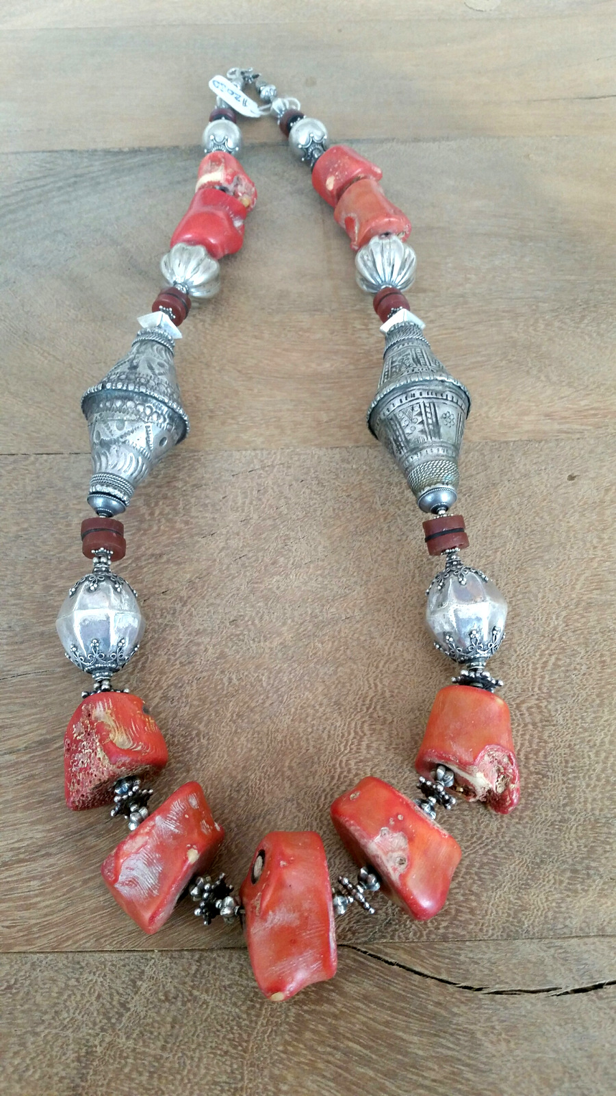 Title: Red Coral & Silver Afghan Cones Necklace #331