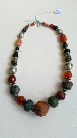 Title: Hand Carved Carnelian Hebron Glass Agate Necklace #10