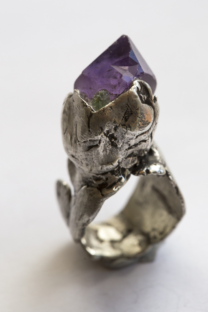 Salli Coppin Rings amethyst with greeen stone $400.jpg