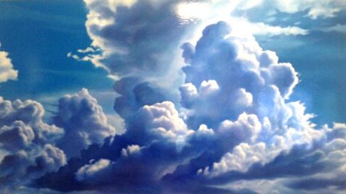 Ben Sherar BLUE CRESCENDO oil on aluminium 120 cm x  210 cm contact the gallery for more information