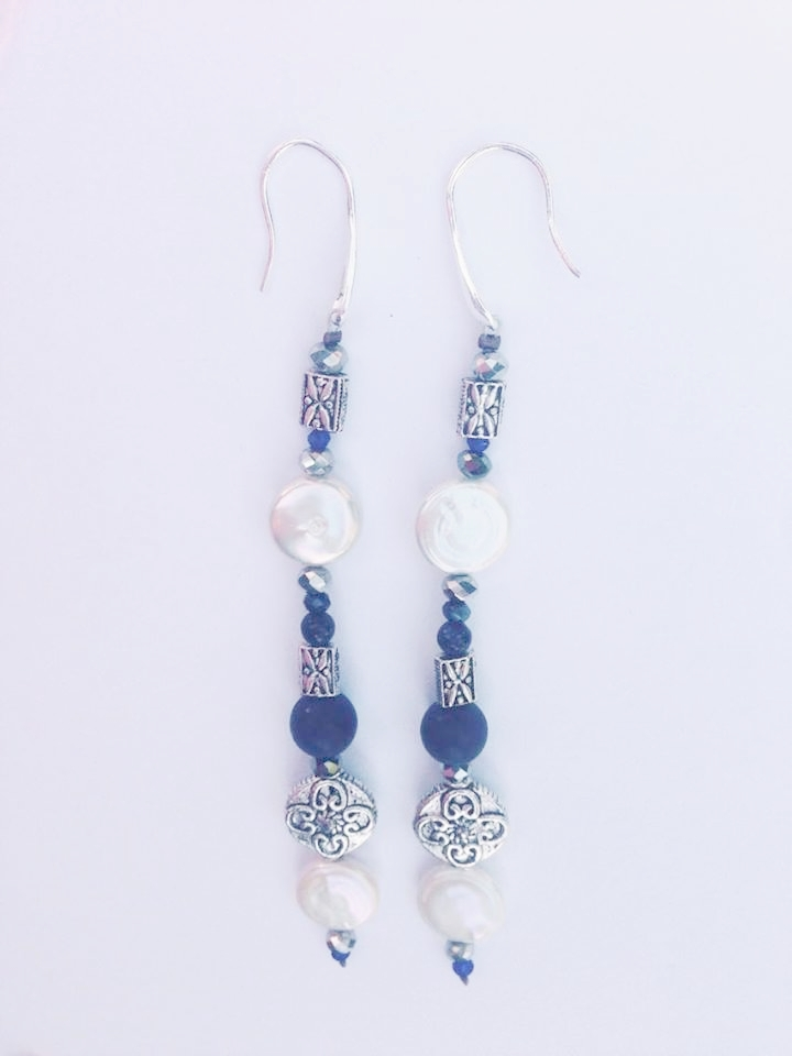 PEARL, LAPIS AND SILVER LONG EARRINGS