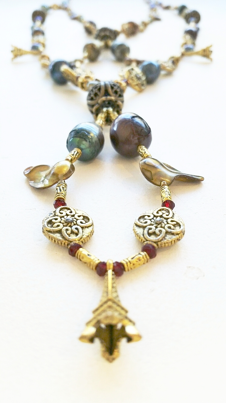 Long Pearl and Brass Pendant #7