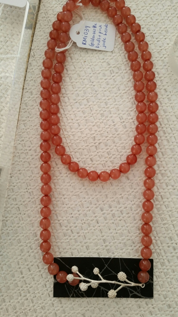 Title: Pink Jade and Golden Wattle Necklace