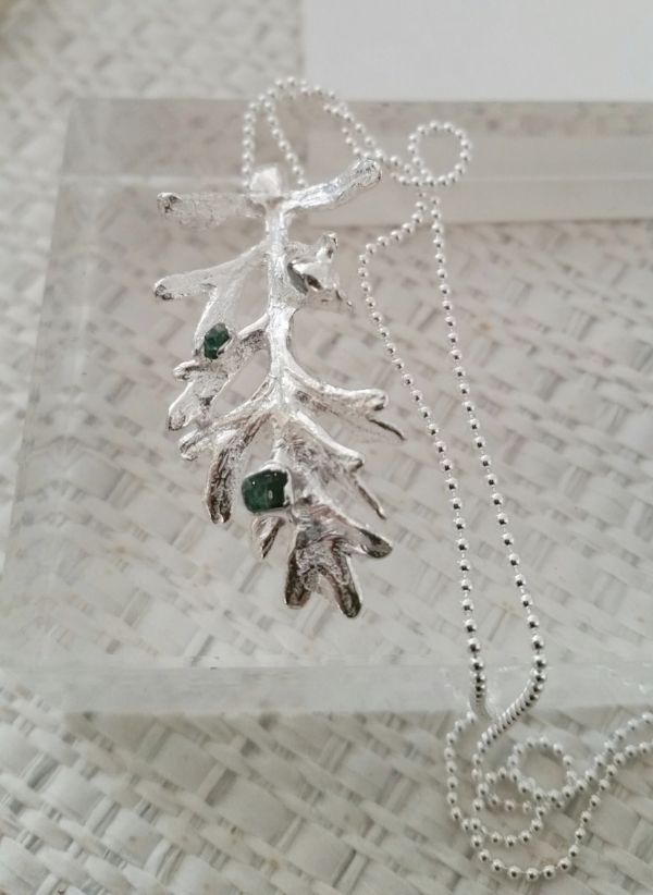 Title: Silver Dust with Raw Emerald Pendant