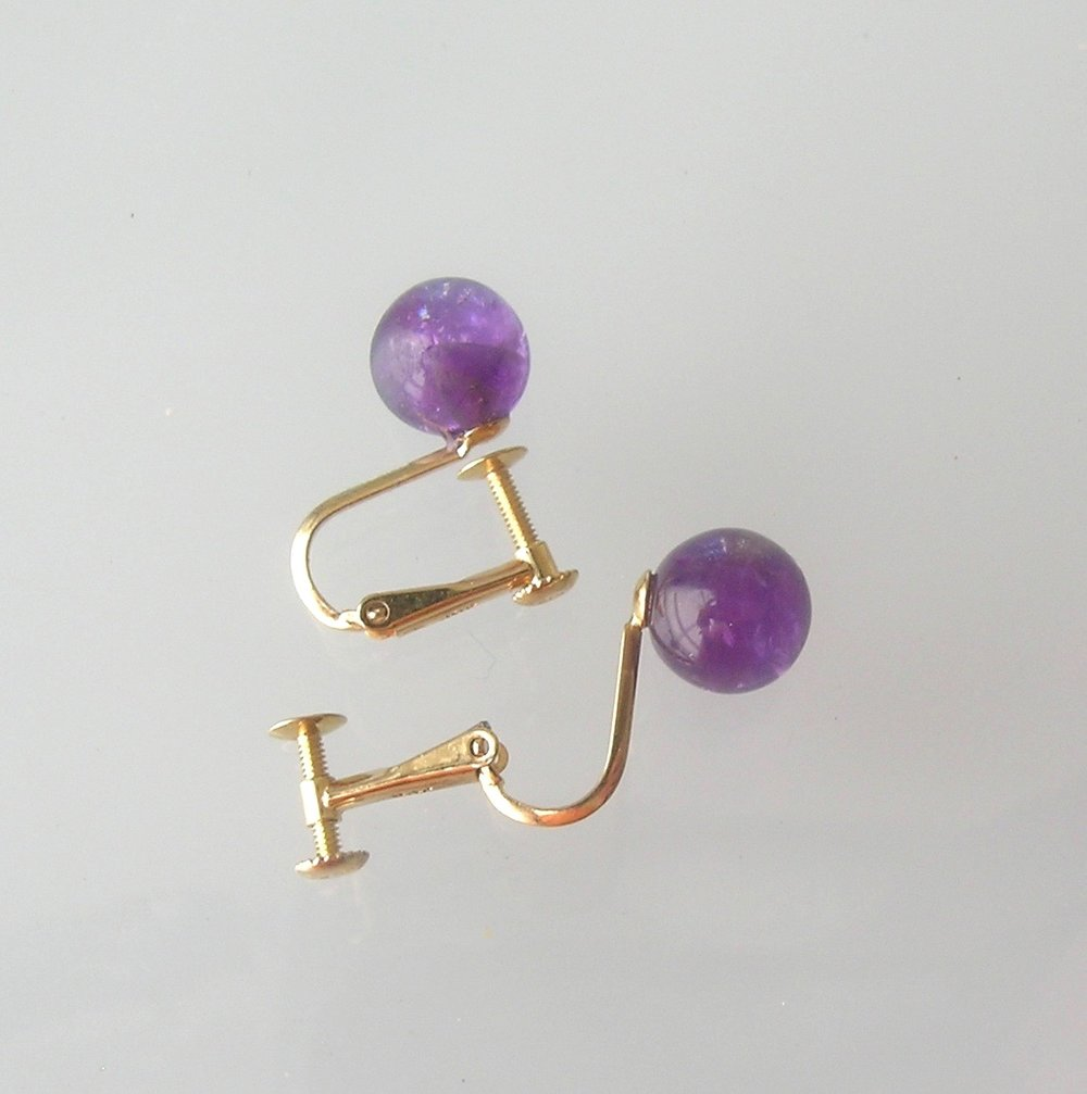 AMETHYST BALL EARRINGS