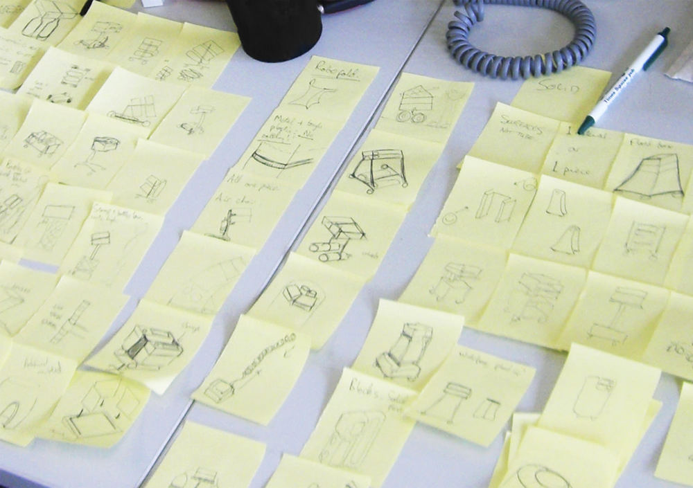 In the early stages of any project comes several moments where ideas need to be proliferated until every single possible option has been put down, compared and selected/discounted. A series of brainstorms and concept generation sessions are used to create these, and it uses up a lot of post-it notes! What's always really fascinating in these sessions is how concepts from early brainstorms can trigger off whole new areas to explore, and how at the end of these sessions, patterns and groups of ideas start to emerge as clear directions in which the design can proceed.