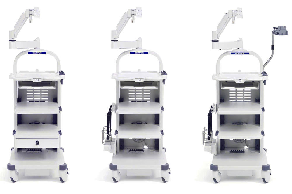 Olympus - medical device trolleys - medical workstation - Medical product design - usability and design for manufacture